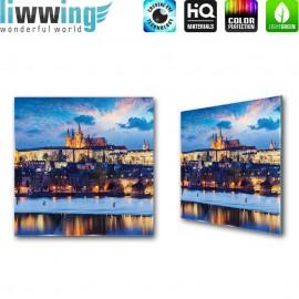 Glasbild ''no. 3028'' | Stadt Glasbild Winter Schnee Häuser Brücke Wasser blau | liwwing (R)