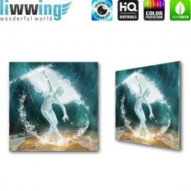 Glasbild ''no. 0962'' | Kunst Glasbild Frau Glas Wasser Ballerina blau | liwwing (R)