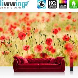 "Vlies Fototapete ""Dream of Poopies"" | Blumen Tapete Romantik Mohn Feld Blumen Gras grün"