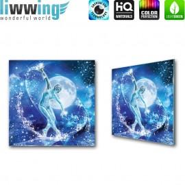 Glasbild ''no. 0963'' | Kunst Glasbild Frau Glas Wasser Ballerina Mond blau | liwwing (R)