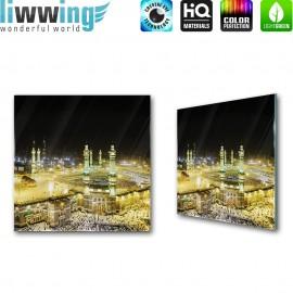 Glasbild ''no. 1533'' | Religion Glasbild Kaaba Gebäude Mekka Saudi-Arabien gelb | liwwing (R)