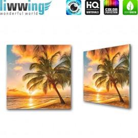 Glasbild ''no. 0042'' | Strand Glasbild Sonnenaufgang Palmen Meer orange | liwwing (R)