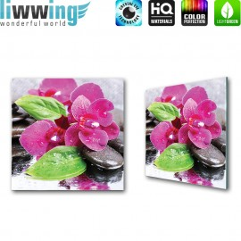Glasbild ''no. 2422''   Orchideen Glasbild Wellness Blume Steine Wasser lila   liwwing (R)