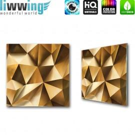 Glasbild ''no. 2165'' | 3D Glasbild Abstrakt Muster Formen gold | liwwing (R)