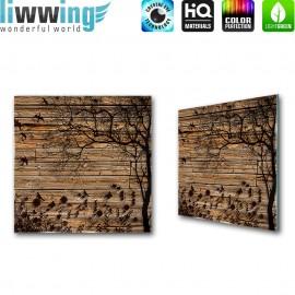 Glasbild ''no. 2050'' | Holz Glasbild Blumen Pflanzen Vögel Baum Illustration braun | liwwing (R)