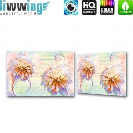 Glasbild ''no. 1426'' | Illustrationen Glasbild Blume Holzwand Kunst bunt | liwwing (R)