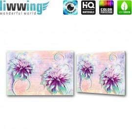 Glasbild ''no. 2696'' | Illustrationen Glasbild Blume Holzwand Kunst bunt | liwwing (R)