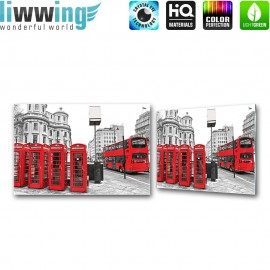 Glasbild ''no. 1296'' | Stadt Glasbild Telefonzelle Bus Gebäude rot | liwwing (R)