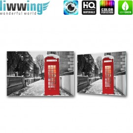 Glasbild ''no. 1425'' | Stadt Glasbild Telefonzelle Schnee Winter schwarz - weiß | liwwing (R)