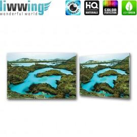 Glasbild ''no. 2694'' | Wasser Glasbild Kontinent Alpen türkis | liwwing (R)