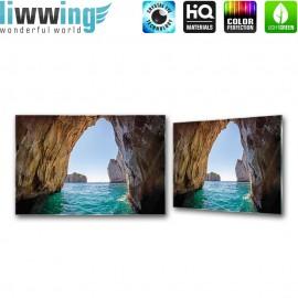 "Glasbild ""no. 0280"" | Meer Glasbild Höhle Felsen Wasser blau | liwwing (R)"