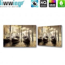 Glasbild ''no. 2552'' | Meer Glasbild Hafen Wasser Boot sepia | liwwing (R)