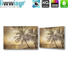 Glasbild ''no. 1292'' | Strand Glasbild Palme Wasser Meer Schriftkunst sepia | liwwing (R)