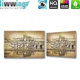 Glasbild ''no. 3032'' | Stadt Glasbild Aussicht Wasser Hafen Gebäude sepia | liwwing (R)