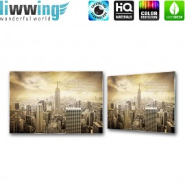 Glasbild ''no. 2171'' | New York Glasbild Manhattan Skyline sepia | liwwing (R)