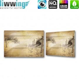 Glasbild ''no. 1291'' | Strand Glasbild Steg Meer Himmel sepia | liwwing (R)