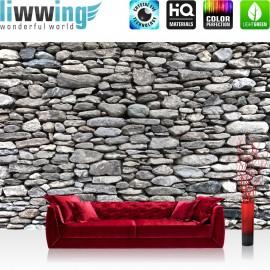 "Vlies Fototapete ""Rocky Stone Wall "" | Steinwand Tapete Steinoptik Steine Wand Wall 3D braun"