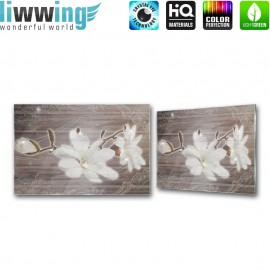 Glasbild ''no. 2169'' | Blumen Glasbild Blüte Holzwand Pflanzen Illustration Ornamente braun | liwwing (R)