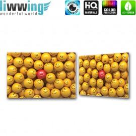 Glasbild ''no. 3147'' | 3D Glasbild Smiley Bubble Gesichter gelb | liwwing (R)