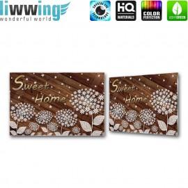 Glasbild ''no. 3149'' | Holz Glasbild Blumen Blüten Illustration braun | liwwing (R)