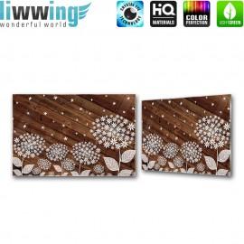 Glasbild ''no. 2933'' | Holz Glasbild Blumen Blüten Illustration braun | liwwing (R)