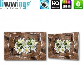 Glasbild ''no. 2300''   Blumen Glasbild Blüten Illustration Holz braun   liwwing (R)