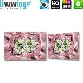Glasbild ''no. 2563''   Blumen Glasbild Blüten Illustration Holz rosa   liwwing (R)