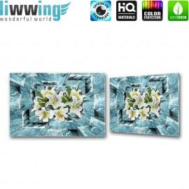 Glasbild ''no. 1676'' | Blumen Glasbild Blüten Illustration Holz blau | liwwing (R)