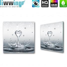 Glasbild ''no. 1905'' | Wasser Glasbild Wellness Wasser Herz blau | liwwing (R)
