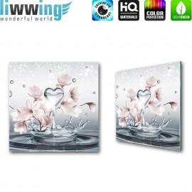 Glasbild ''no. 1411''   Blumen Glasbild Magnolia Wasser Splash Wellness Herz blau   liwwing (R)