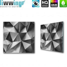 Glasbild ''no. 2921'' | 4D Glasbild Abstrakt Muster Formen silber | liwwing (R)