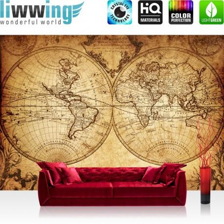 "Vlies Fototapete ""Vintage World Map""   Geographie Tapete Weltkarte Vintage Atlas braun"