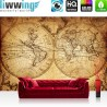 "Vlies Fototapete ""Vintage World Map"" | Geographie Tapete Weltkarte Vintage Atlas braun"
