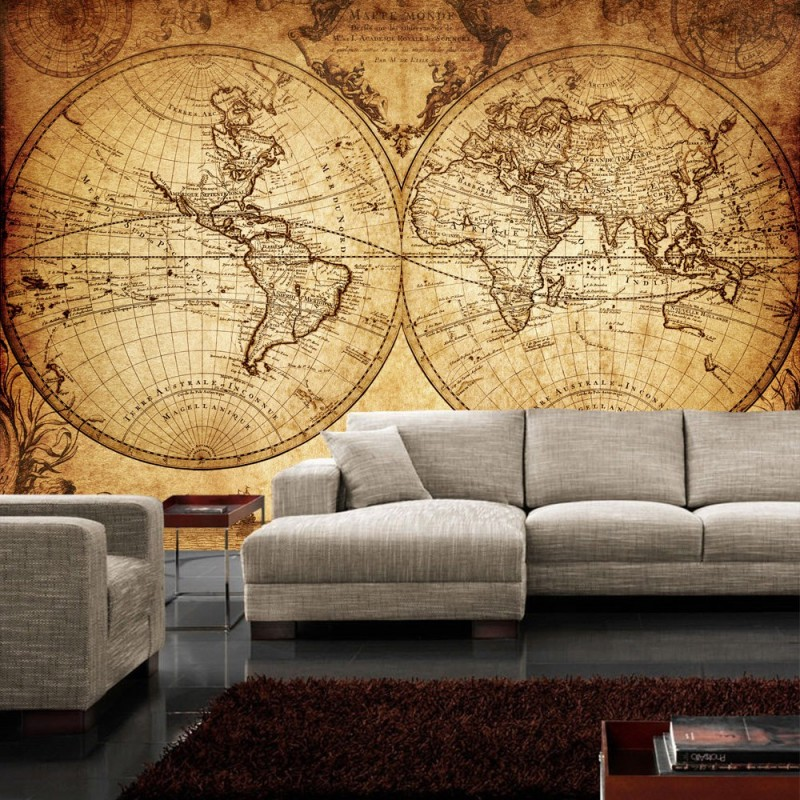 vlies fototapete vintage world map geographie tapete. Black Bedroom Furniture Sets. Home Design Ideas