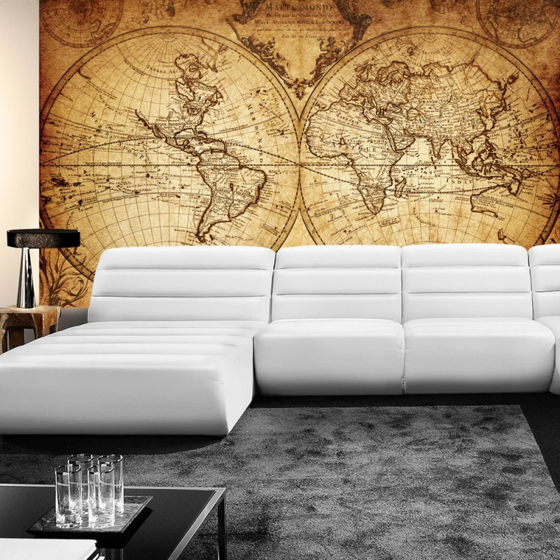 """Vintage Weltkarte Tapete : Vintage World Map"""" Geographie Tapete Weltkarte Vintage Atlas braun"""