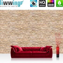 "Vlies Fototapete ""Asian Brick Stone Wall "" | Steinwand Tapete Kleine Steine hell Asian Stone Wall beige"