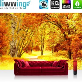 "Vlies Fototapete ""Autumn Leaves"" | Wald Tapete Herbstblätter Bäume Forest Herbst braun"