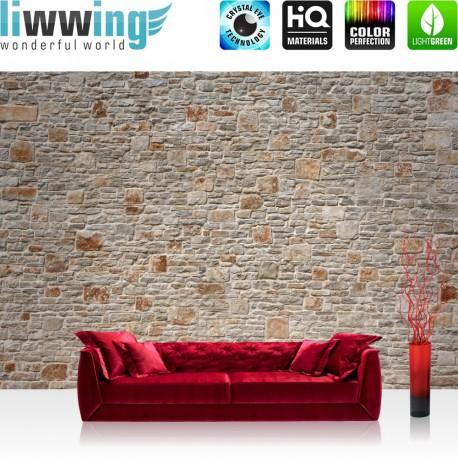 "Vlies Fototapete ""Royal Stone Wall"" | Steinwand Tapete Steinoptik Steine Wand Wall 3D Effekt alte Mauer beige"