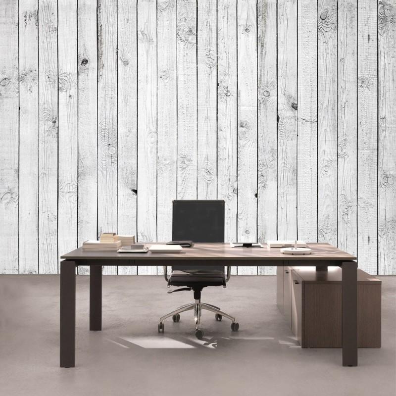 "Fototapete ""White Painted Wooden Wall"" | Holz Tapete Holzoptik"