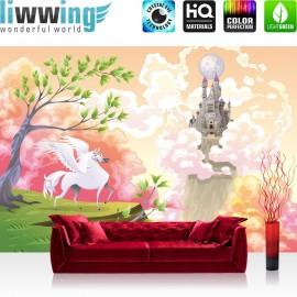 "Vlies Fototapete ""Magic Pegasus"" | Kindertapete Tapete Kinderzimmer Mädchen Einhorn Märchen Pastell bunt"