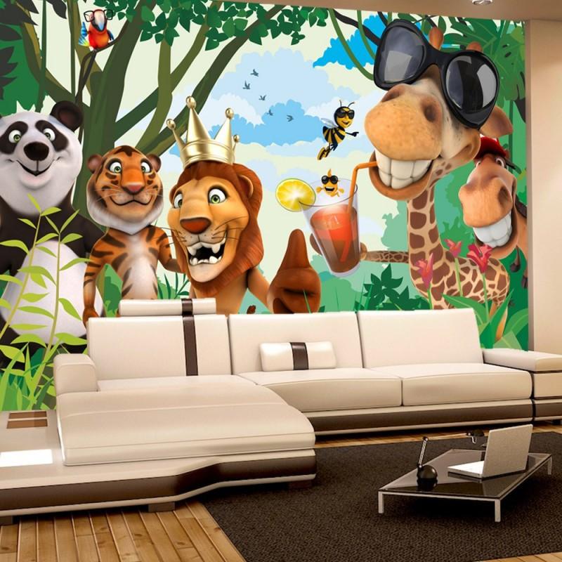vlies fototapete jungle animals party ii kindertapete. Black Bedroom Furniture Sets. Home Design Ideas