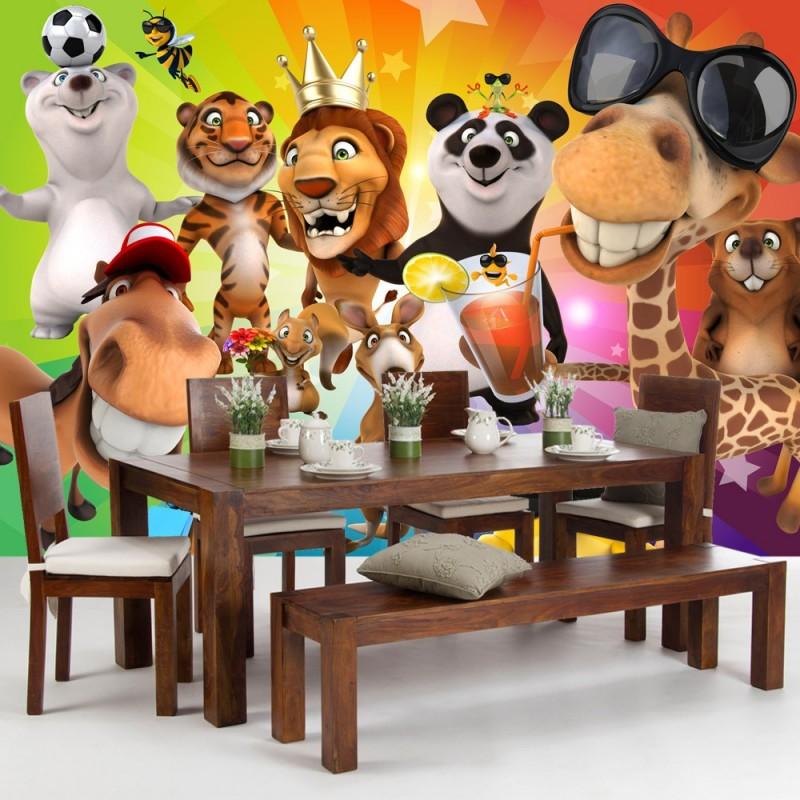 vlies fototapete safari party animals kindertapete. Black Bedroom Furniture Sets. Home Design Ideas