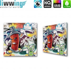 Glasbild ''no. 0338'' | Graffiti Glasbild Kunst Wand Malerei Sprayer bunt | liwwing (R)