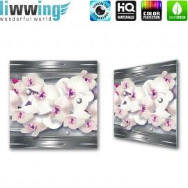 Glasbild ''no. 0371''   Orchideen Glasbild Blume Natur Pflanze Metalloptik grau   liwwing (R)