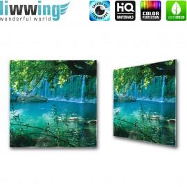 Glasbild ''no. 1708'' | Wasser Glasbild Paradies Felsen Natur blau | liwwing (R)