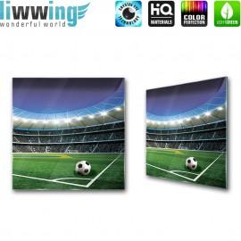 Glasbild ''no. 1970'' | Fußball Glasbild Sport Stadion Spielfeld Licht grün | liwwing (R)