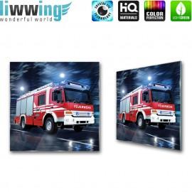 Glasbild ''no. 0535'' | Autos Glasbild Feuerwehr Nacht Fahrzeug rot | liwwing (R)