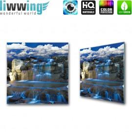 Glasbild ''no. 1722'' | Wasser Glasbild Wasserfall Felsen Himmel blau | liwwing (R)