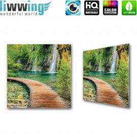 Glasbild ''no. 2387'' | Wasser Glasbild Wasserfall Steg Felsen grün | liwwing (R)