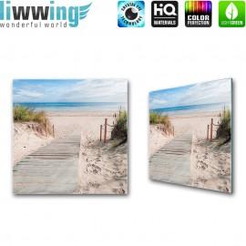 Glasbild ''no. 2364'' | Strand Glasbild Steg Wasser Meer Sand beige | liwwing (R)